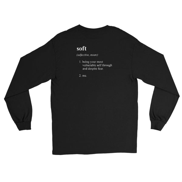 "ILY's ""soft"" definition long-sleeve shirt in black."