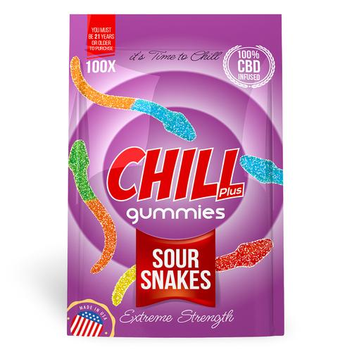 Chill Plus Gummies - CBD Infused Gummy Sour Snakes (Box of 12)