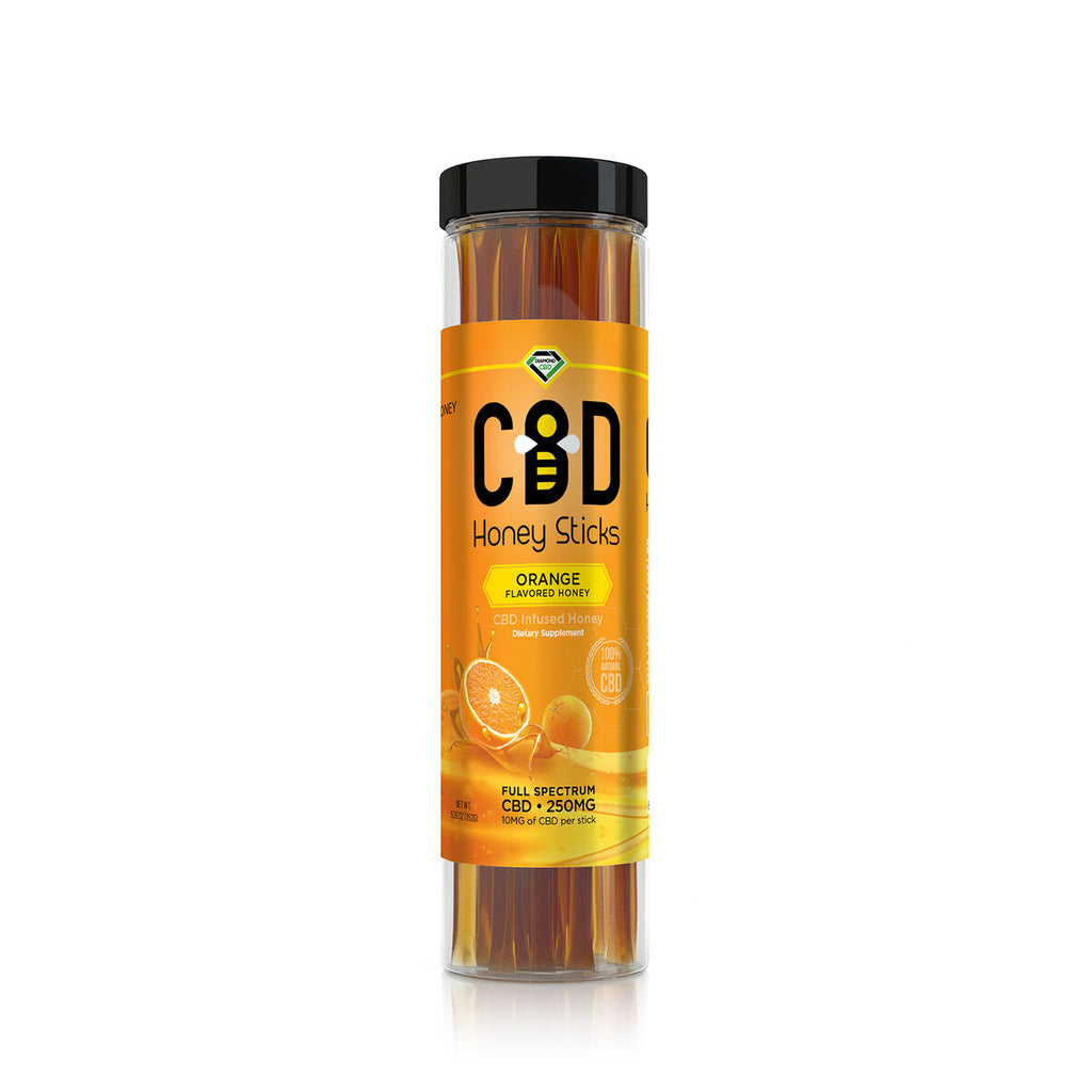 CBD Infused Honey Sticks -  Flavored - 250mg (25 Pack)(12 Flavors)