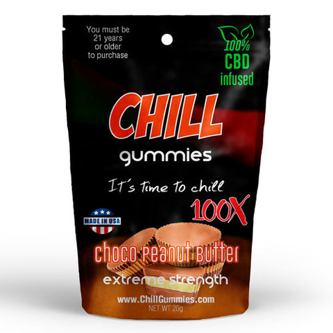 CHILL GUMMIES - CBD INFUSED CHOCO PEANUT BUTTER<br> (Box of 12)