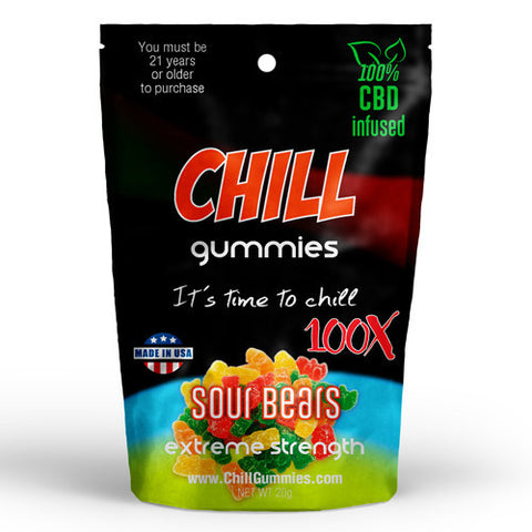 CHILL GUMMIES - CBD INFUSED SOUR BEARS<br> (Box of 12)