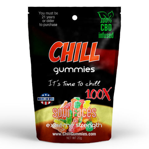 CHILL GUMMIES - CBD INFUSED SOUR FACES<br> (Box of 12)