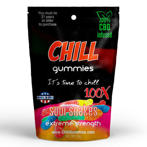 CHILL GUMMIES - CBD INFUSED SOUR SNAKES<br> (Box of 12)