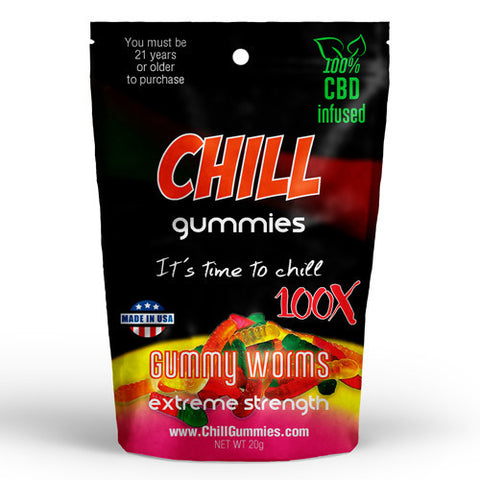 CHILL GUMMIES - CBD INFUSED GUMMY WORMS<br> (Box of 12)