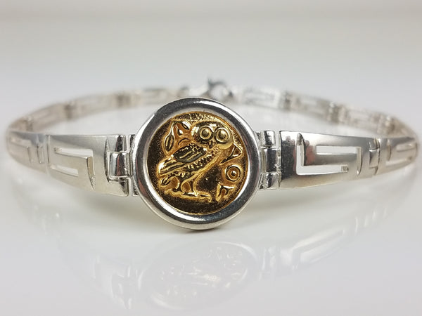 Athena owl bracelet made with sterling silver