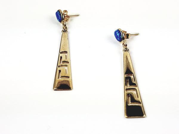 Dangling Greek Key Earring with sterling silver and opal stone