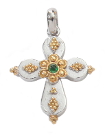 Byzantine cross emerald pendant in sterling silver.