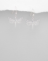 Dragonfly Earrings in sterling silver.