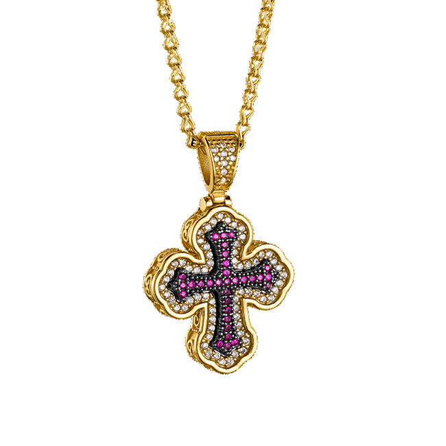 Gold plated cross on sterling silver with cubic zirconia stones