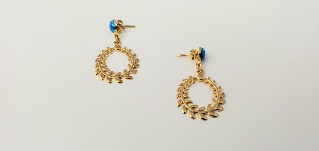 Gold plated laurel earrings