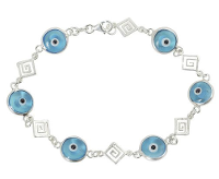 Evil eye bracelet with Greek Key in sterling silver.
