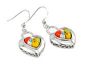 Millefiori heart earrings multicolored in sterling silver