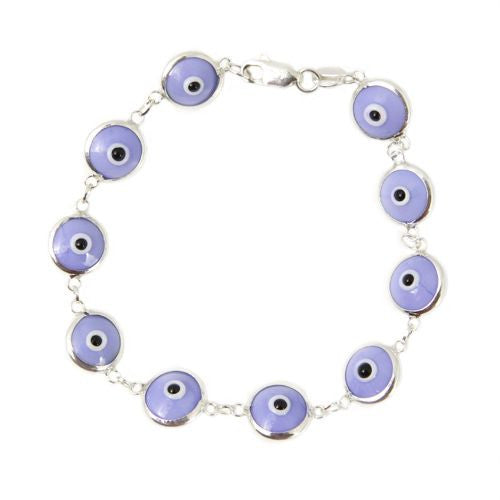 Lavender evil eye bracelet in sterling silver.