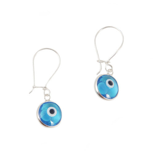 Light blue evil eye dangling earrings in sterling silver.