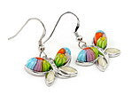 Multi-colored Butterfly Earrings in sterling silver.