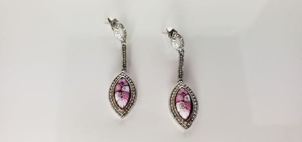 Pink glass millefiori earrings