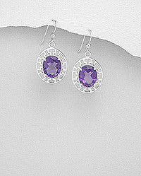 Greek Key Amethyst Earrings
