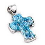 Blue Millefiori Cross Set in sterling silver