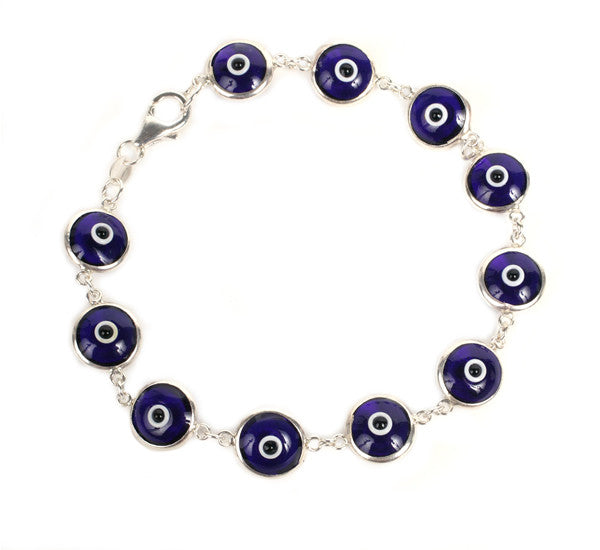 Dark blue evil eye bracelet in sterling silver