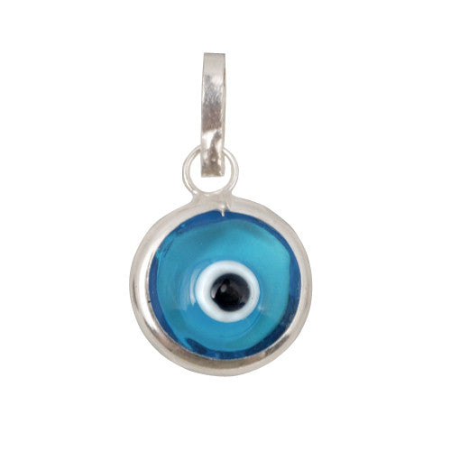 Light blue evil eye pendant in sterling silver.
