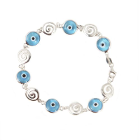 Evil eye bracelet with round Greek key in sterling silver.