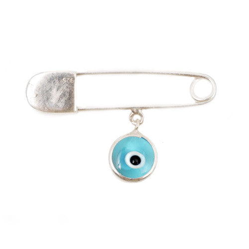 Baby blue evil eye pin in sterling silver