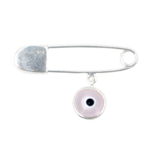 Baby girl evil eye pin in sterling silver.