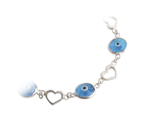 Light blue evil eye heart bracelet in sterling silver.