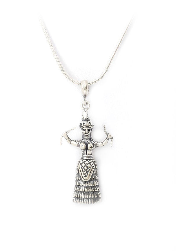 Minoan snake goddess in sterling silver.