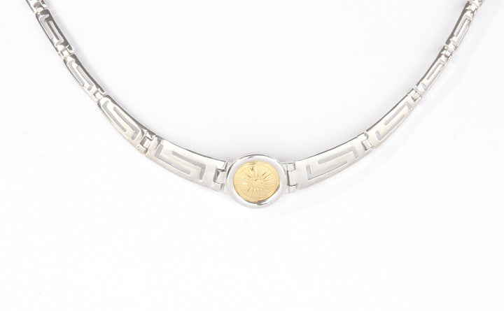 Macedonian sun necklace with sterling silver.