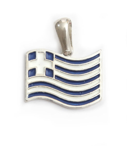 Greek flag pendant in sterling silver.