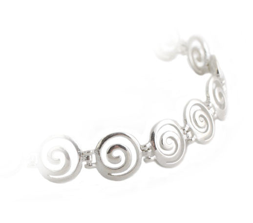 Greek round key bracelet in sterling silver.