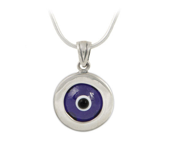 Large blue evil eye pendant in sterling silver.