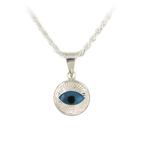 Evil eye pendant in sterling silver.
