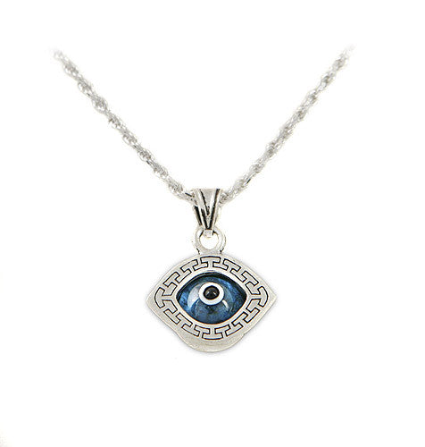Greek key design evil eye pendant