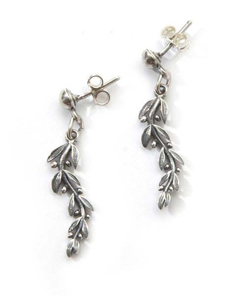 Olive tree branch earrings in sterling silver.