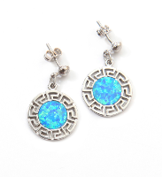 Round opal earrings with Greek key