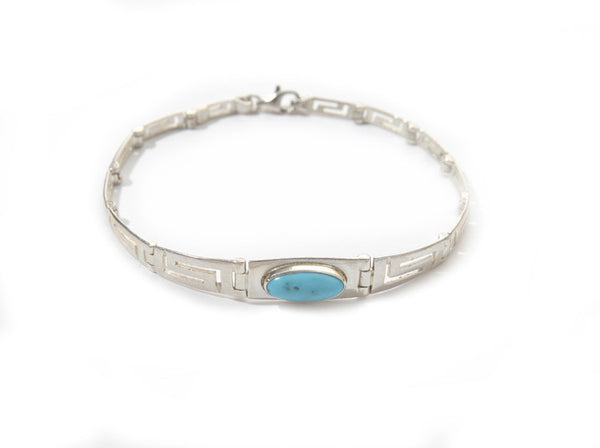 Greek key blue opal bracelet in sterling silver.