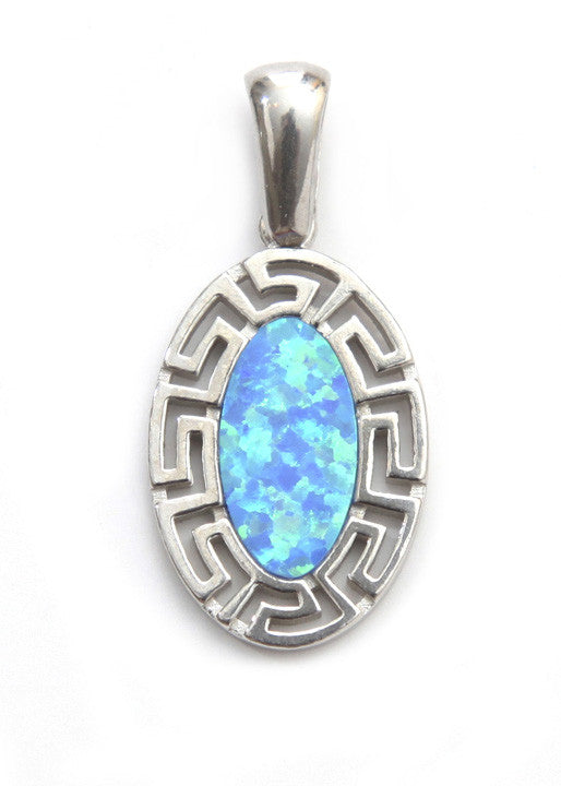 Oval opal Greek key pendant in sterling silver