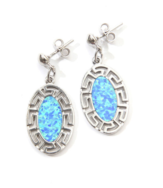 Oval opal blue key earrings