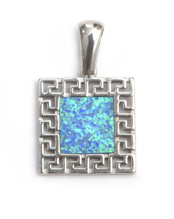 Square opal pendant with Greek key