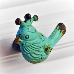verdigris bird cabinetry knob metal