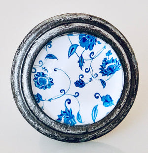 Burnished Silver Knob – Blue and White Floral