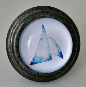 Blue and White Sails - Pewter Knob
