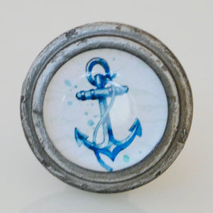 Burnished Silver with Glass Inlay - Blue and White Anchor