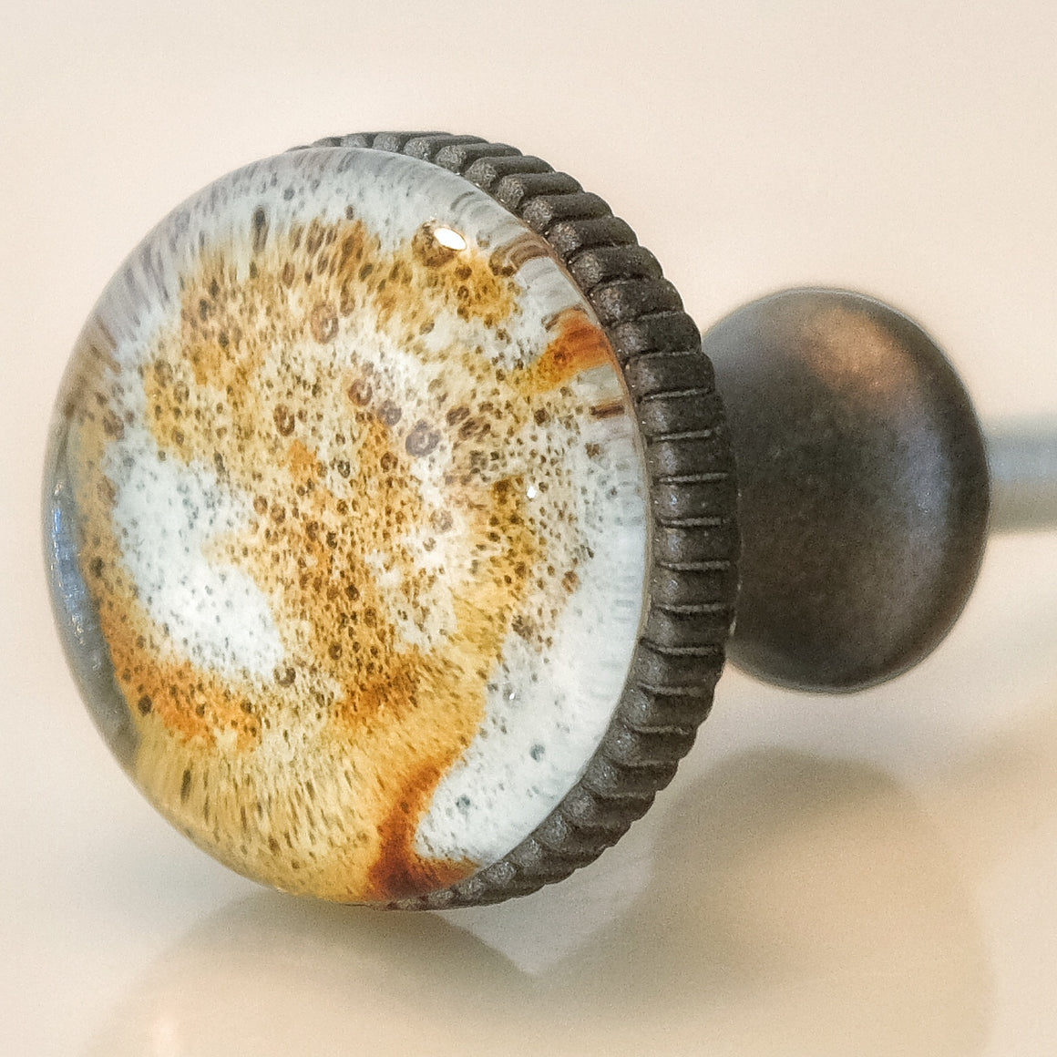 Coffee Latte Art Pewter Knob - Foam Design