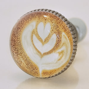 Coffee Latte Art Pewter Knob - Flora Design