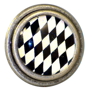 round Burnished Silver Knob Black White Harlequin Charleston Knob Company
