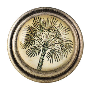 round Burnished Silver Knobs - Palm Tree