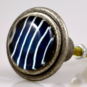 Burnished Silver Knob – Crew Blue Stripe